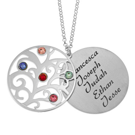 Personalized Double Layer Family Tree Necklace