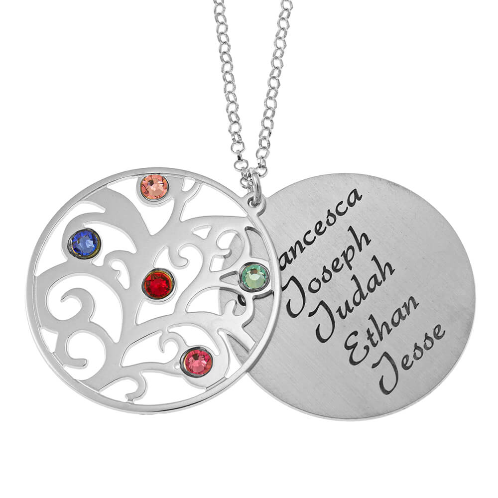 Personalized Double Layer Family Tree Necklace silver 1