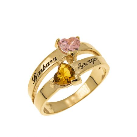 Personalized Heart-Shaped Birthstone Ring