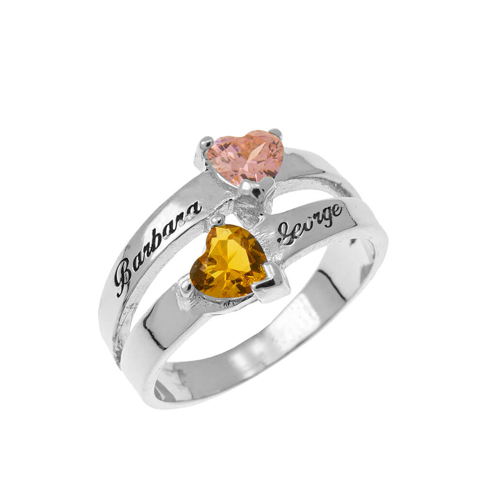 Personalized Heart-Shaped Birthstone Ring silver