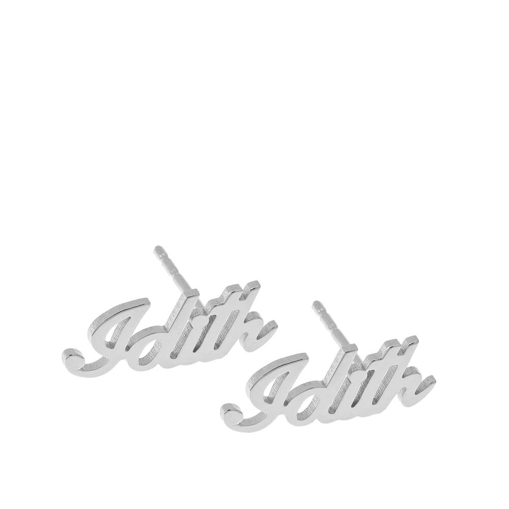 Personalized Name Stud Earrings silver