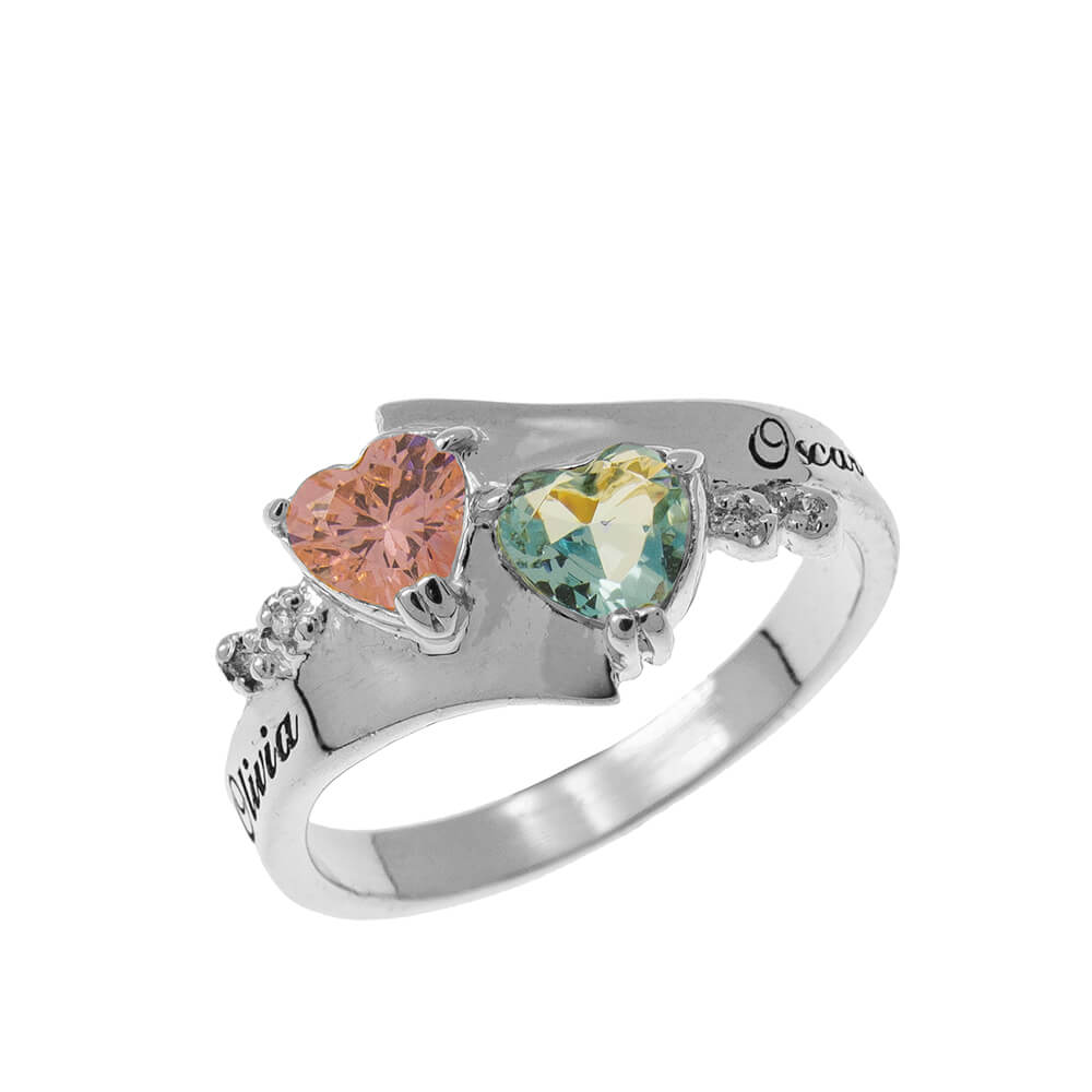 Promise Double Heart Birthstone Ring silver
