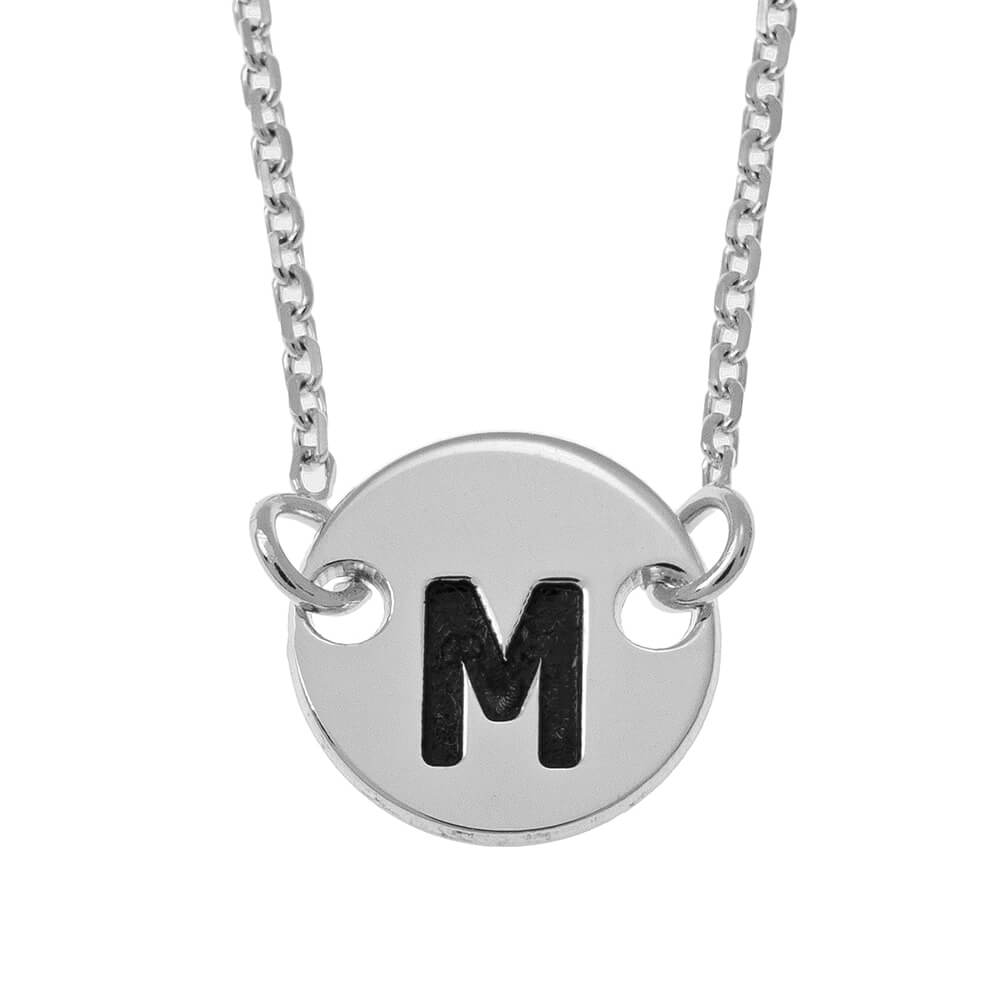 Small Initial Disc Pendant Necklace silver
