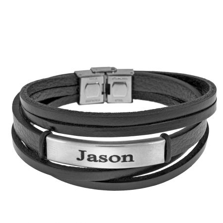 Black Leather Layers Bracelet with Engraving