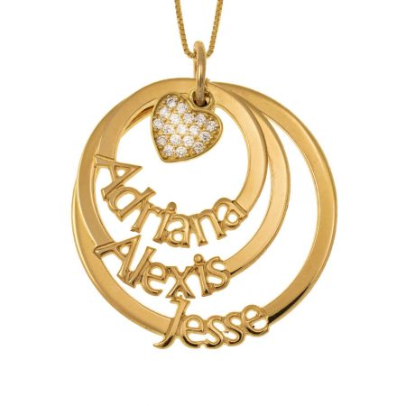 Cut Out Mother Layers Discs Necklace With Inlay Heart