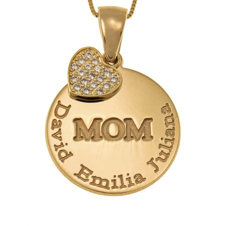 Engraved Mom Disc Necklace with Inlay Heart