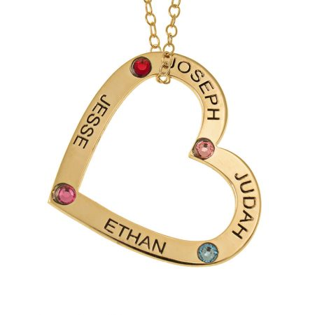 Family Heart Pendant with Names and Birthstones
