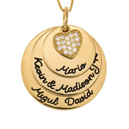 Mother Circle Necklace With Inlay Heart