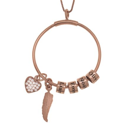 Circle Necklace with Name Beads, Feather and Inlay Heart