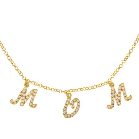 Sparkling Dangling Letters Name Necklace