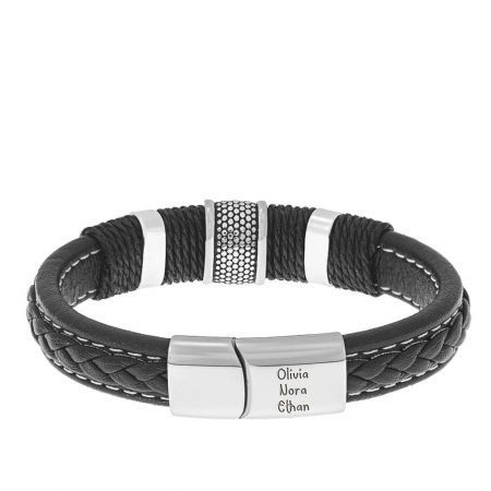Stainless Steel & Leather Men's Bracelet with Magnetic Clasp