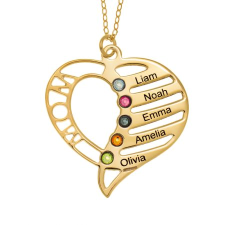 Personalized Mom Heart Necklace with Birthstones